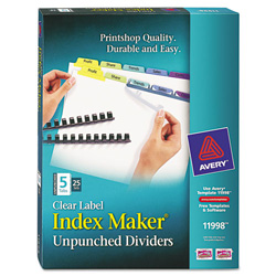 Avery 5-Tab Indexed Sheet Dividers, Assorted Colors