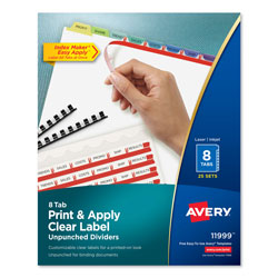 Avery 8-Tab Indexed Sheet Dividers, Assorted Colors