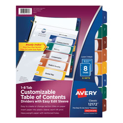 Avery Ready Index® Easy Edit™ Table of Contents Dividers, 8-Tab, 6 Sets, Assorted Colors