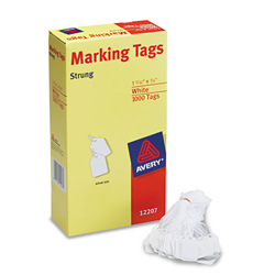 "Avery White Price Tags, Strung with White Twine, 1 3/32""x3/4"", 1000 per Pack"