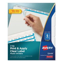 Avery Index Maker® Translucent Clear Label Dividers, 5-Tab, 5 Sets, Clear