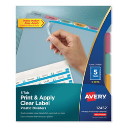 Avery Index Maker® Translucent Clear Label Dividers, 5-Tab, 5 Sets, Multicolor