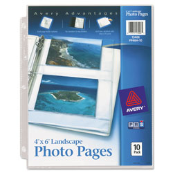 "Avery Bulk Photo Pages for Four 4""x6"" Horizontal Photos, 3 Hole Punched, 10 per Pack"