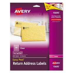 "Avery Easy Peel Mailing Labels for Laser Printer, 2/3""x1 3/4"", Clear, 600 per Pack"