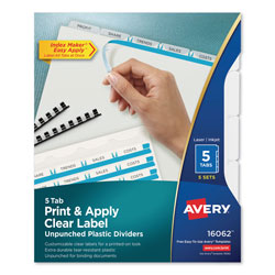 Avery Index Maker® Unpunched Translucent Clear Label Dividers, 5-Tab, 5 Sets, White