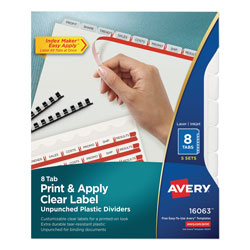 Avery Index Maker® Unpunched Translucent Clear Label Dividers, 8-Tab, 5 Sets, White