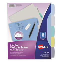 "Avery Write-On Dividers, Translucent, 5-Tab, 8 1/2""x11"", Assorted Colors"