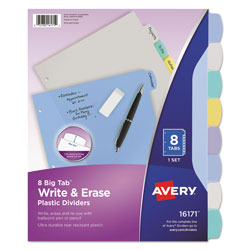 "Avery Translucent Multicolor Write-On Big Tab Dividers, 8-Tab, 8 1/2""x11"", Assorted Colors"