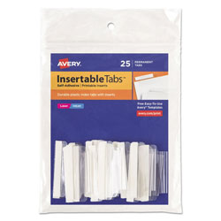 "Avery Index Tabs with Printable Inserts, 1 1/2"", Clear, 25-Tabs"