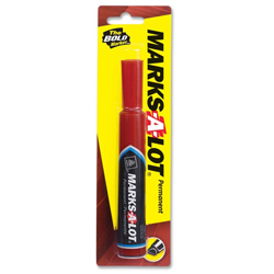 Avery Marks-A-Lot® Permanent Ink Marker, Regular, Chisel Point, Red
