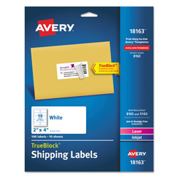 "Avery White Ink Jet Mailing Labels, 2""x4"", 100 per Pack"