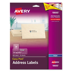 "Avery Clear Address Labels for Ink Jet Printers, 1""x2 5/8"", 10 per Pack"