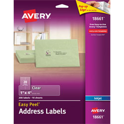 "Avery Easy Peel Mailing Labels for Inkjet Printers, 1""x4"", Clear, 200 per Pack"