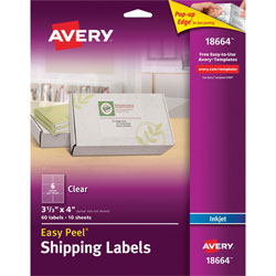 "Avery Easy Peel Mailing Labels for Inkjet Printers, 3 1/3""x4"", Clear, 60 per Pack"
