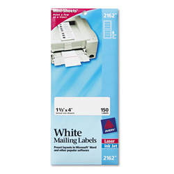 "Avery Mini Sheets Laser/Ink Jet Labels, 1 1/3""x4"" Size, White, 150 per Pack"