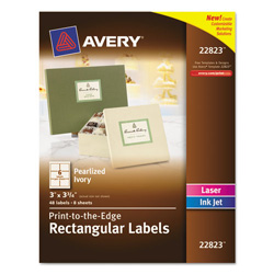 "Avery Rectangle Easy Peel Labels, 3""x3 3/4"", Pearl"