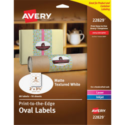 "Avery Oval Easy Peel Labels, 2""x3 1/3"", Matte Ivory, 80 per Pack"