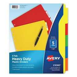 Avery Heavy Duty Plastic Dividers, 5-Tab Set, Multicolor