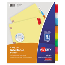 Avery WorkSaver® Big Tab™ Insertable Dividers, 8-Tab Set, Multicolor/Manila