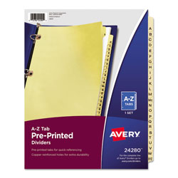 Avery Copper Reinforced Pre-Printed Dividers with A-Z Tabs, 25-Tab Set, Buff