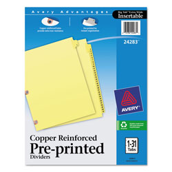 Avery Copper Reinforced Pre-Printed Dividers with 1-31 Tabs, Buff