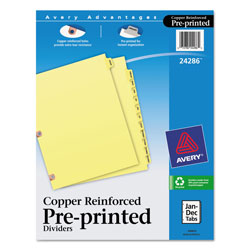 Avery Copper Reinforced Pre-Printed Dividers with January-December Tabs, 12-Tab Set, Buff