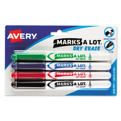 Avery Marks-A-Lot® Fine Point Bullet Tip Whiteboard Marker, Four Color Set