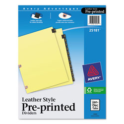 Avery Black Leather Pre-Printed Dividers with January-December Tabs, 12-Tab Set
