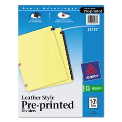 Avery Black Leather Pre-Printed Dividers with 1-31 Tabs
