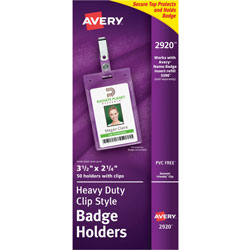 "Avery Photo ID Badge Holders, Business Size, 2 1/4""x3 1/2"", Portrait Clip"