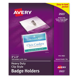 "Avery Convention Size Photo ID Badge Holders, 3""x4"" with Landscape Clip"