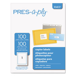 "Avery Pres-A-Ply™ Copier, 8 1/2""x11"", White, 100 per Pack"