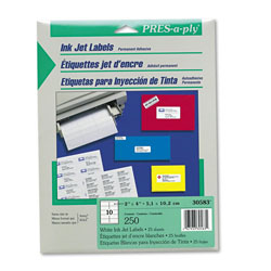 "Avery Pres-A-Ply Inkjet Address Labels, 2""x4"",White, 250 per Pack"