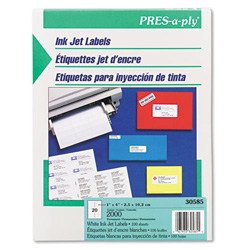 "Avery Pres-A-Ply™ Address InkJet Labels, 4""x1"", White"