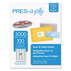 "Avery Pres-A-Ply Laser Address Labels, 1""x2 5/8"", White, 3000 per Pack"