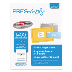 "Avery Pres-A-Ply Laser Address Labels, 1 1/3""x4"", White, 1400 per Pack"