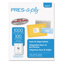 "Avery Pres-A-Ply Laser Address Labels, 2""x4"", White, 1000 per Pack"
