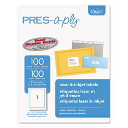 "Avery Pres-A-Ply Laser Address Labels, 8 1/2""x11"", White, 100 per Pack"