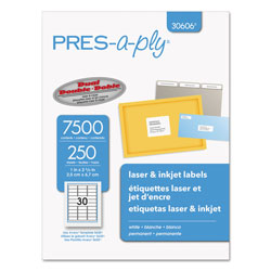 "Avery Pres-A-Ply Laser Address Labels, 1""x2 5/8"", White, 7500 per Pack"