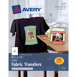 "Avery Personal Creations™ Ink Jet Dark T Shirt Transfers, 8 1/2""x11"", 5 Sheets per Pack"