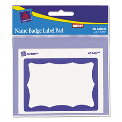 "Avery Name Badge Label Pads, Blue Border, 3""x4"","