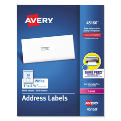 "Avery White Mailing Laser Labels, 1""x2 5/8"""