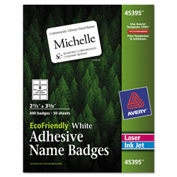 "Avery White Name Badge Labels, 2 1/3""x3 3/8"""