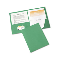 Avery Two Pocket Report Cover with Prong Fastener, Green, Box of 25