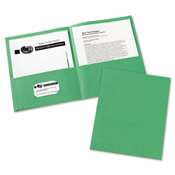 Avery Two Pocket Portfolio, Green, Box of 25