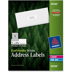 "Avery White Address Labels, 1""x2 5/8"""