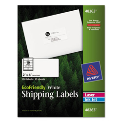 "Avery Eco-friendly Labels, 2""x4"", White, 250 per Pack"