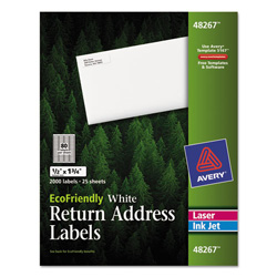 "Avery Eco-friendly Labels, 1/2""x1 3/4"", White, 2000 per Pack"