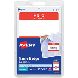 "Avery Self Adhesive Name Badges, "" Hello, "" Red, 2 1/4""x3 3/8"", 100 Badges per Pack"