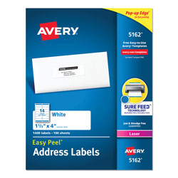 "Avery White Laser Address Labels with Smooth Feed Sheets™, 1 1/3x4"", 1400 per Pack"